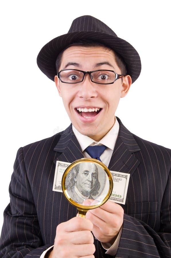在白色隔绝的镶边衣服的滑稽的绅士 免版税库存照片