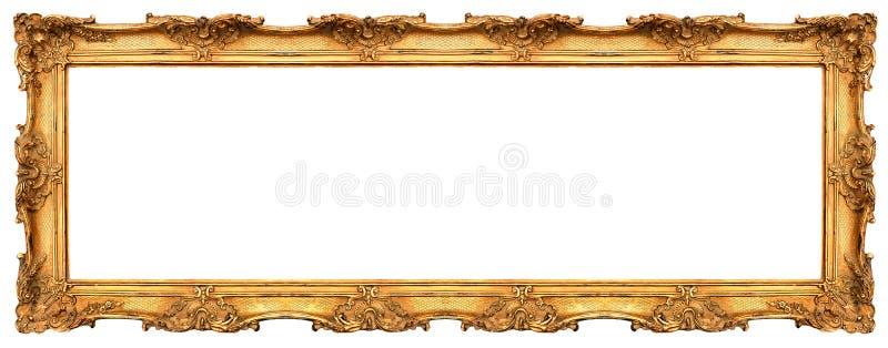 在白色隔绝的长的老金黄框架 免版税库存照片
