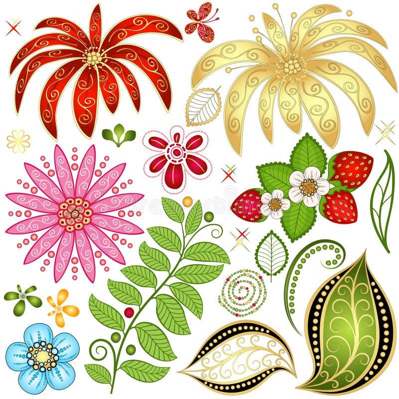 集合五颜六色的花卉设计元素 皇族释放例证
