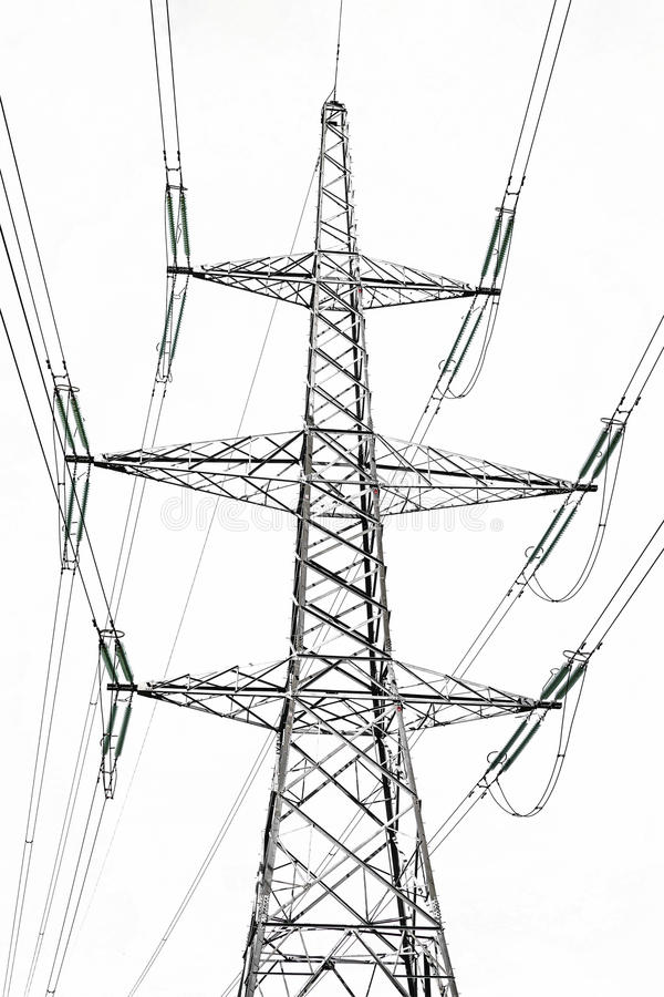 在白色隔绝的高压电岗位 免版税库存照片