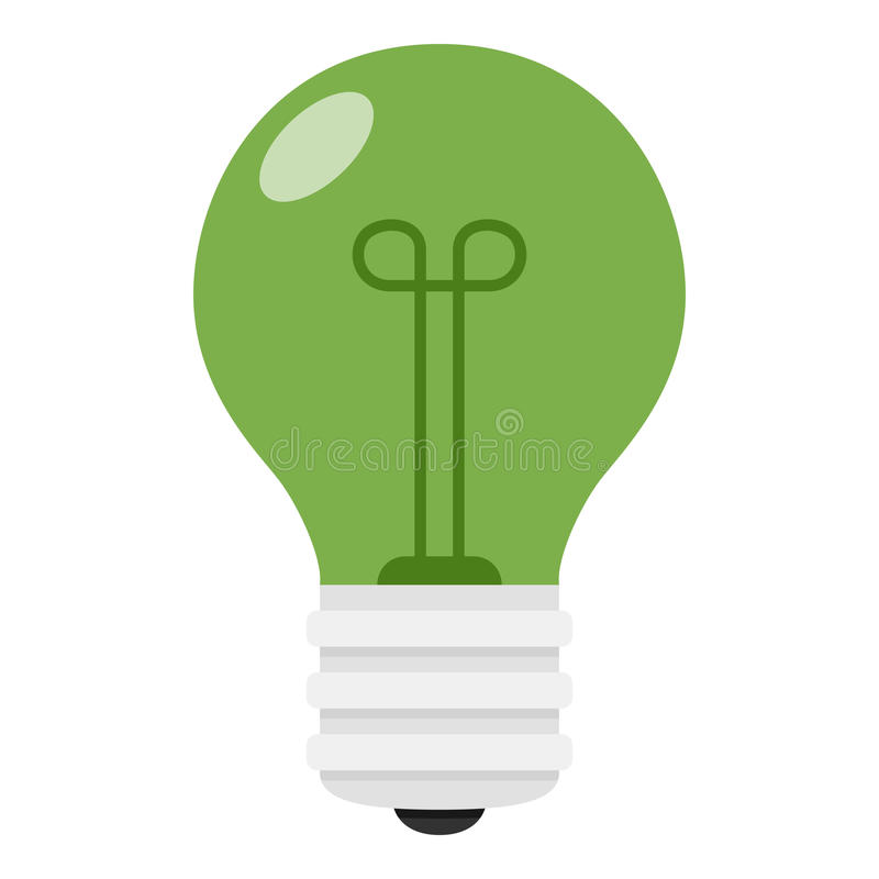 在白色隔绝的绿灯电灯泡平的象 向量例证