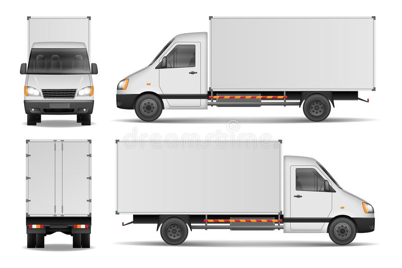 在白色隔绝的货物搬运车 城市商业送货卡车模板 白色车大模型 也corel凹道例证向量 皇族释放例证