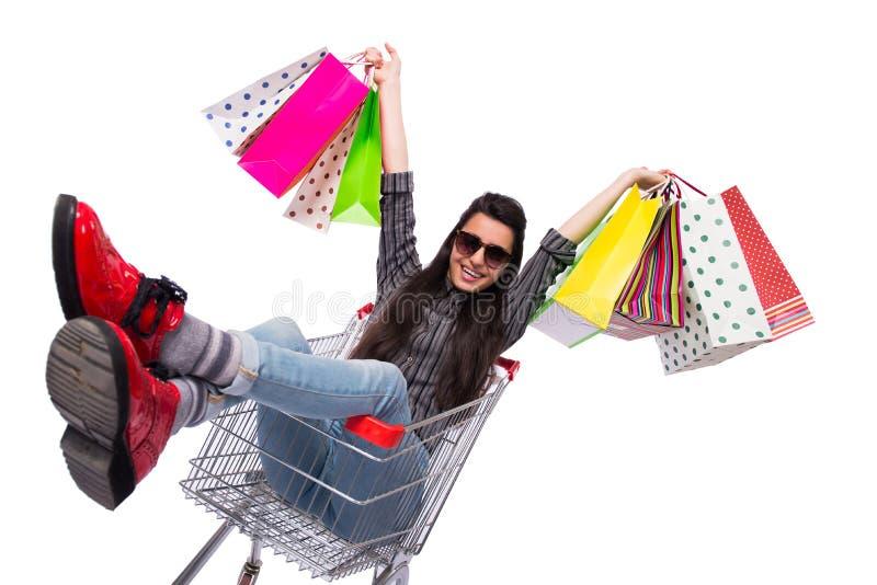 在白色隔绝的购物以后的少妇happer 库存图片