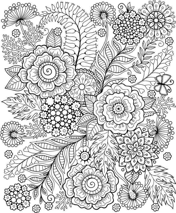 在白色隔绝的黑白夏天flowe 抽象乱画背景由花和蝴蝶制成 传染媒介着色页 皇族释放例证