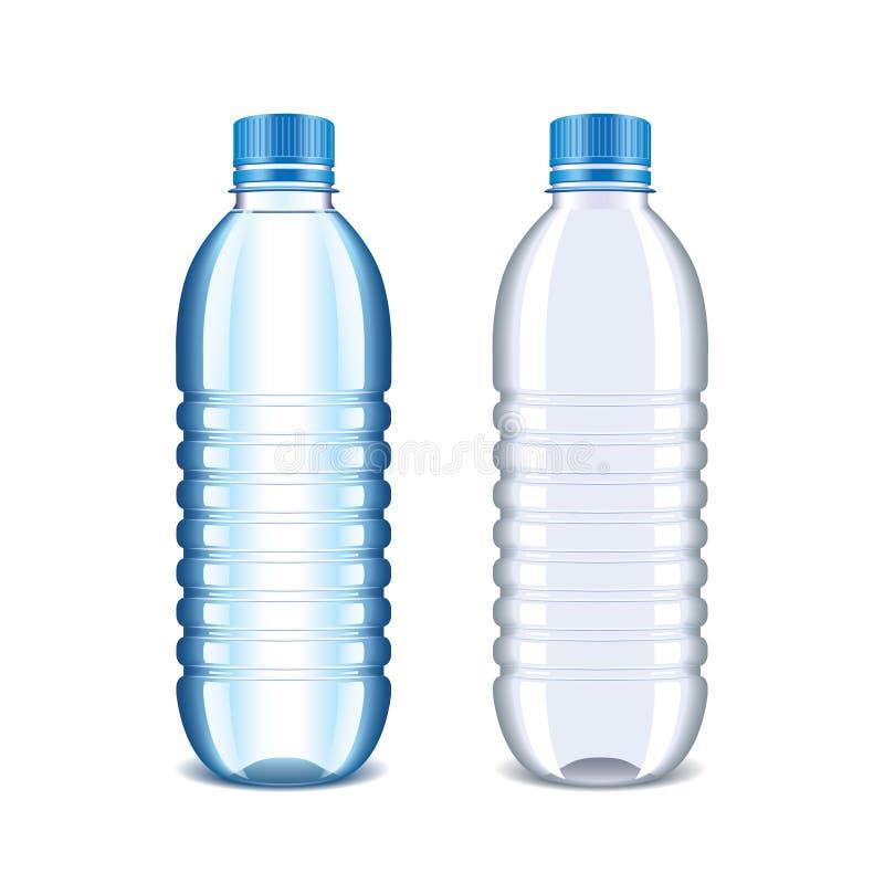 在白色隔绝的水的塑料瓶 库存例证