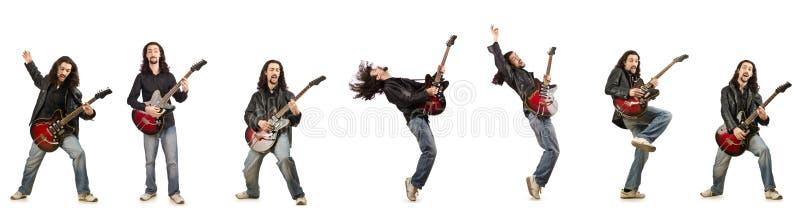 Download 在白色隔绝的滑稽的吉他演奏员 库存图片. 图片 包括有 综合, 乐趣, 迪斯科舞厅, 球员, 执行者, 表达式 - 72361989