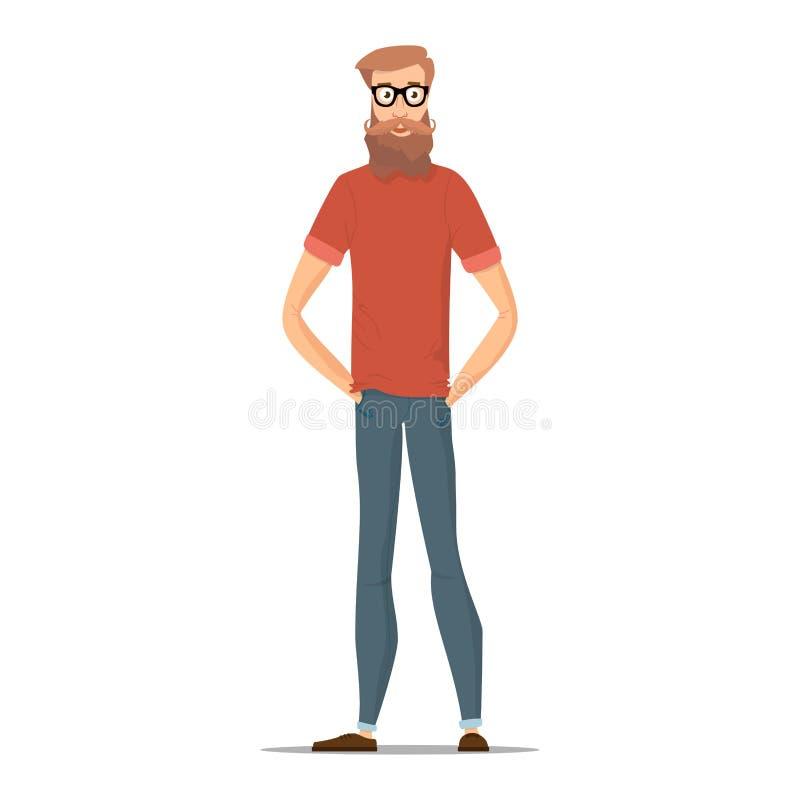 在白色隔绝的滑稽的有胡子的行家 字符青年人用不同的便衣 传染媒介例证与 向量例证