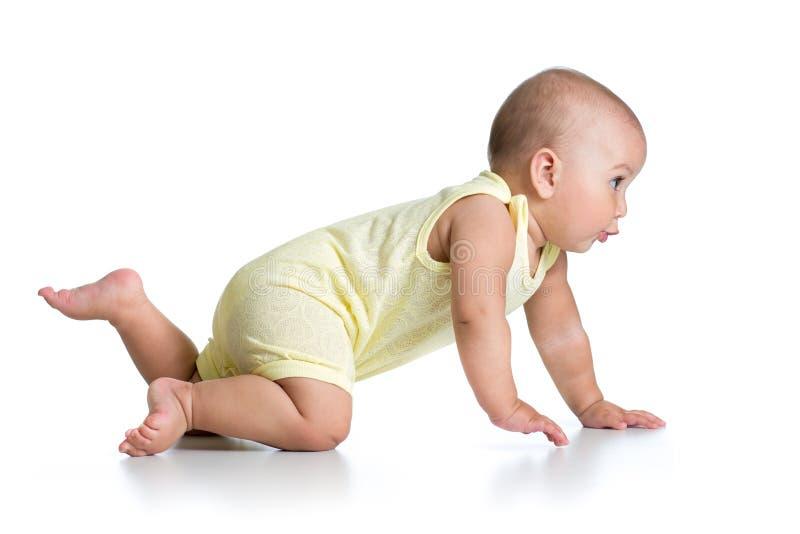 在白色隔绝的滑稽的爬行的婴孩 免版税图库摄影