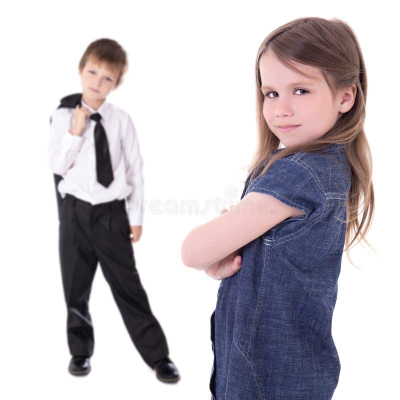 在白色隔绝的滑稽的逗人喜爱的小孩 免版税库存照片