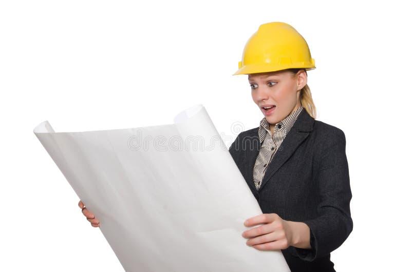 Download 在白色隔绝的年轻建筑师 库存照片. 图片 包括有 事业, 恐怖, 建筑师, 工作, 工头, 草稿, 女性 - 72357916