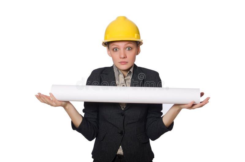Download 在白色隔绝的年轻建筑师 库存照片. 图片 包括有 工头, 女实业家, 吓唬, 工程师, 安全帽, 承包商 - 72358410