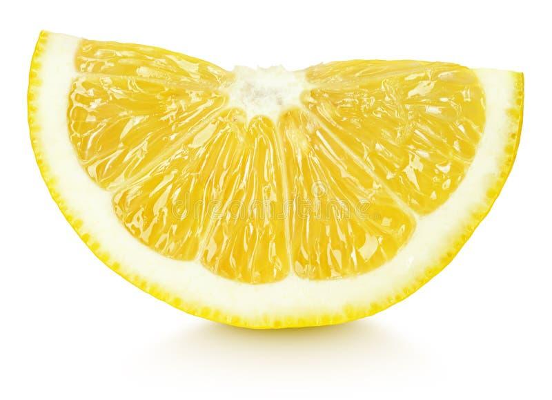 在白色隔绝的黄色柠檬柑桔楔子  免版税库存照片