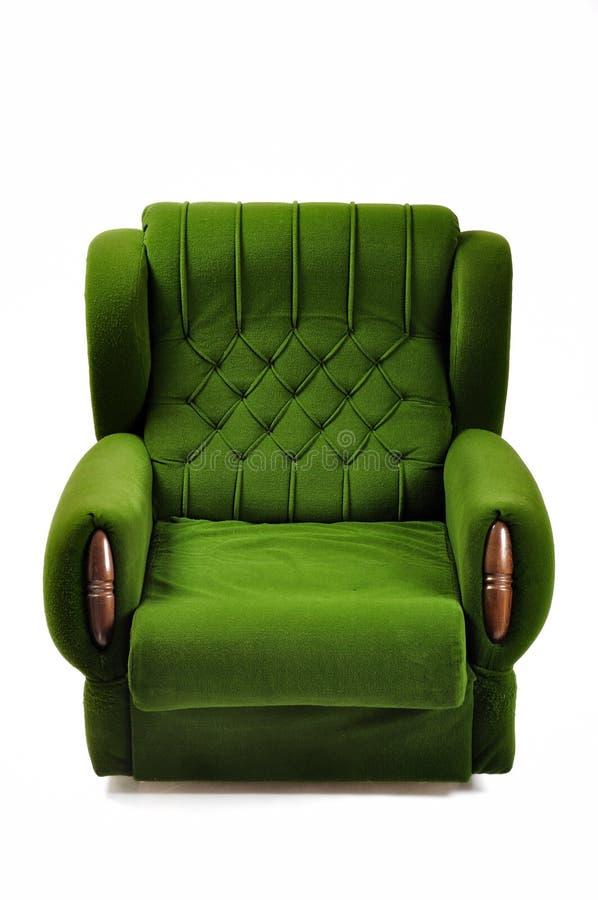 在白色隔绝的绿色沙发,与裁减路线 免版税库存图片