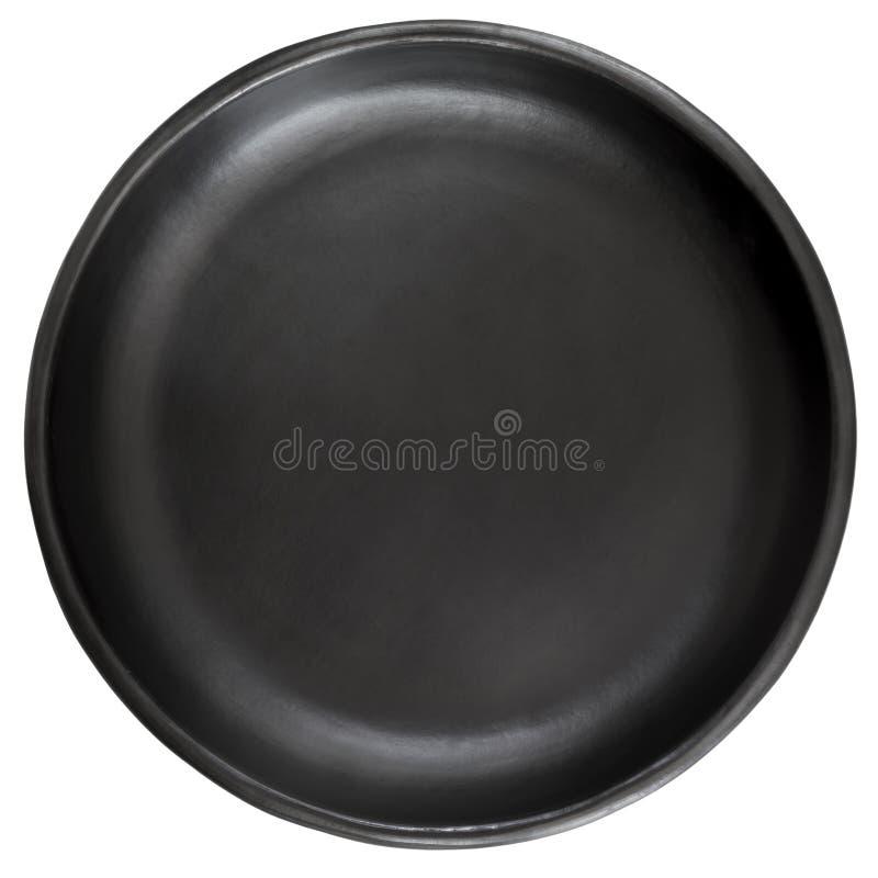 在白色隔绝的黑色的盘子 库存图片