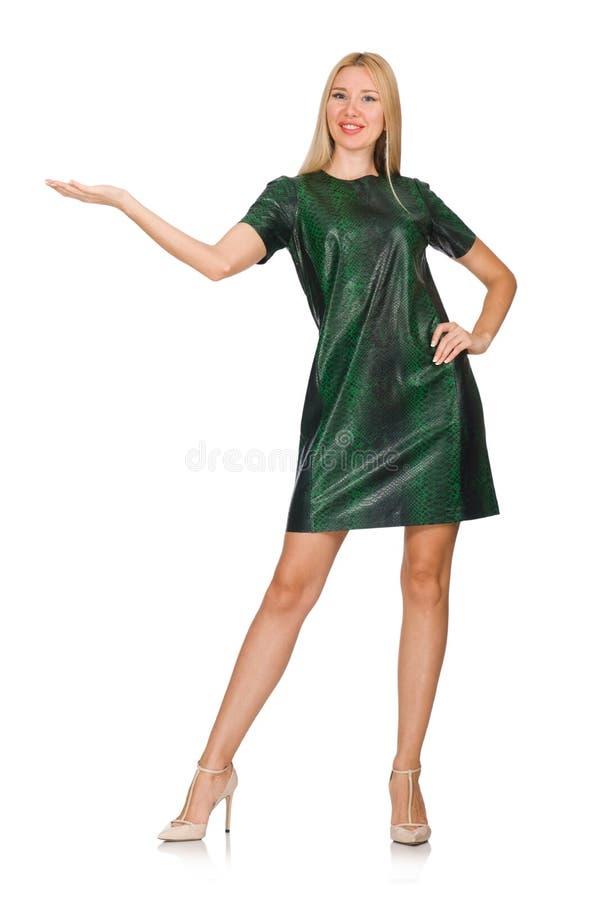 在白色隔绝的绿色礼服的少妇 免版税图库摄影