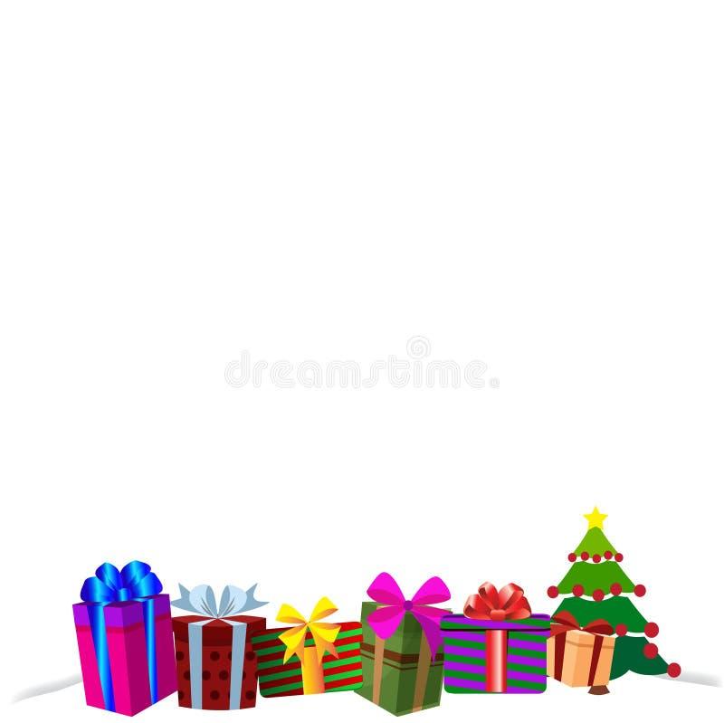 在白色雪,圣诞节或新年边界框架背景的五颜六色的礼物盒 皇族释放例证