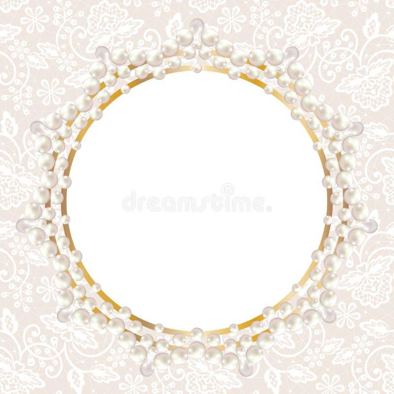 在白色鞋带背景的珍珠框架 库存例证
