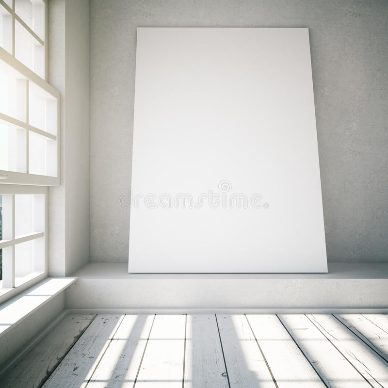 在白色顶楼内部的空白的海报与阳光,嘲笑, 3d 皇族释放例证
