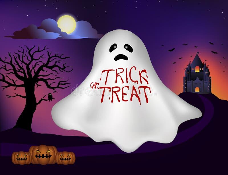 在白色鬼魂的血迹字法与城堡、树、满月和万圣夜南瓜在背景中横幅的,例证和 皇族释放例证