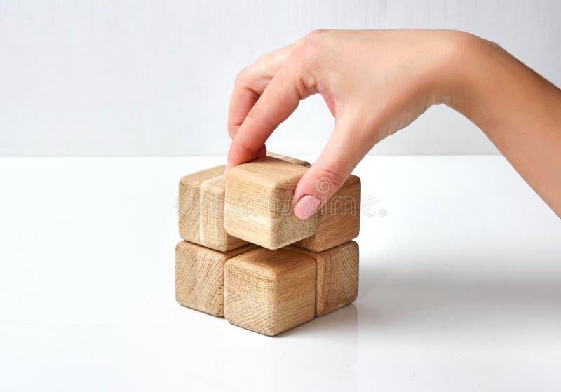 在白色,企业概念的木块 库存照片