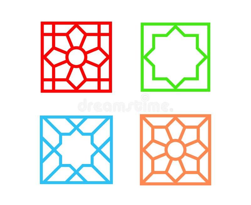 在白色,传染媒介艺术的伊斯兰教的方形的瓦片样式 库存例证