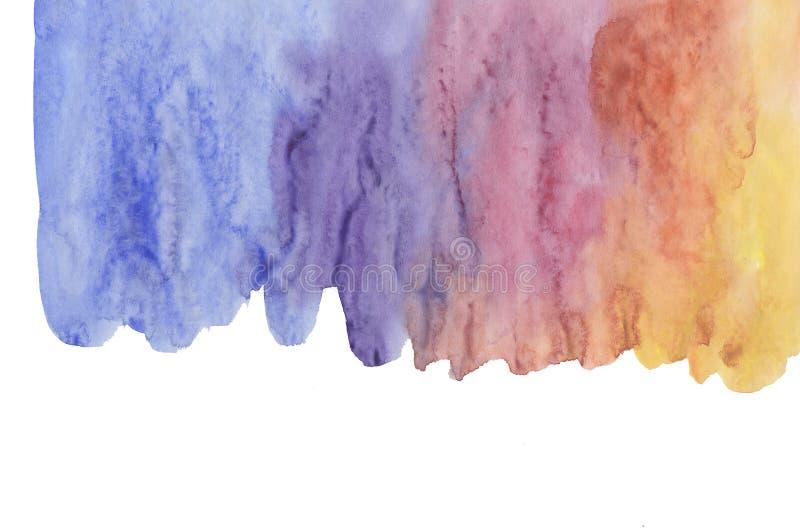在白色,创造性的例证隔绝的抽象水彩刷子冲程,艺术性的色板显示,难看的东西污迹,蓝色,红色紫色 库存例证