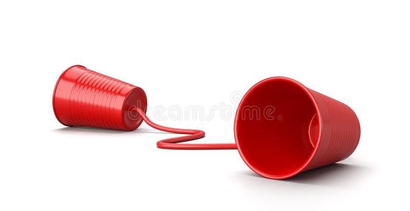 在白色,通信概念的红色塑料杯电话 皇族释放例证