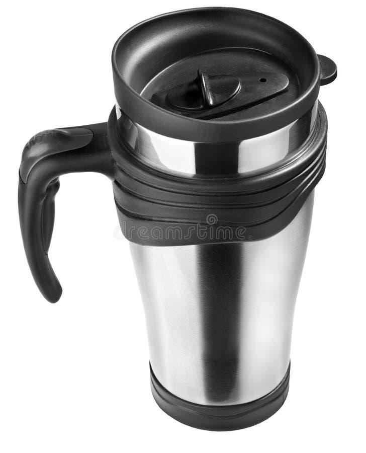 在白色,钢杯子隔绝的热杯子 免版税库存图片