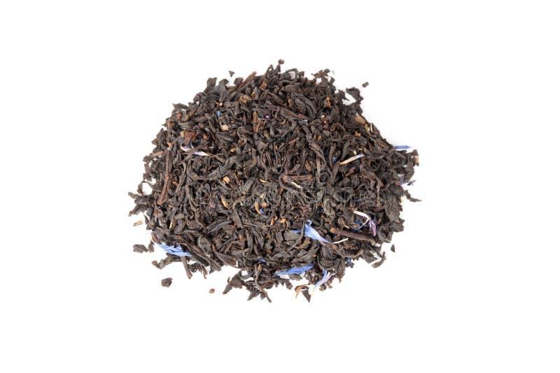 在白色,顶视图隔绝的黑厄尔灰色茶 图库摄影