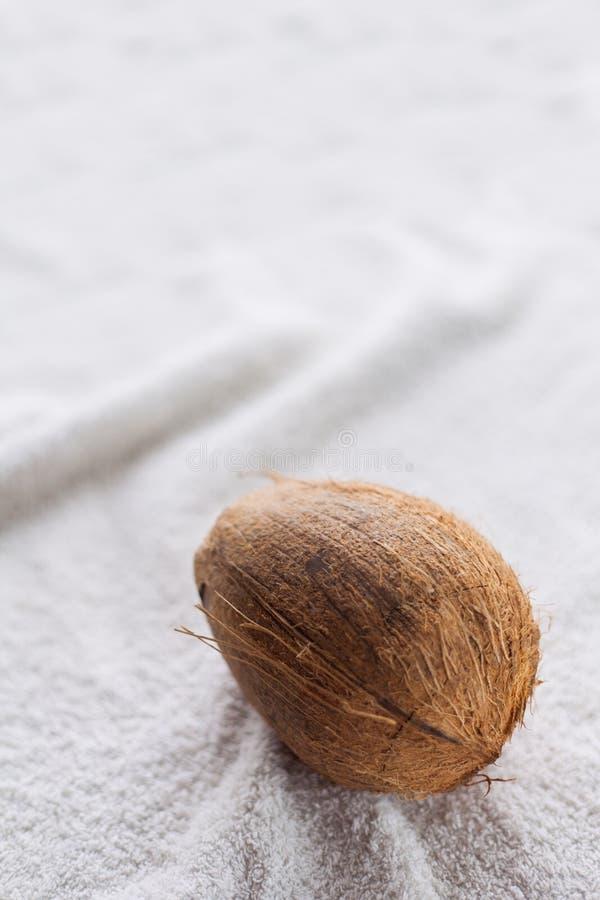 在白色织品的椰子 库存照片