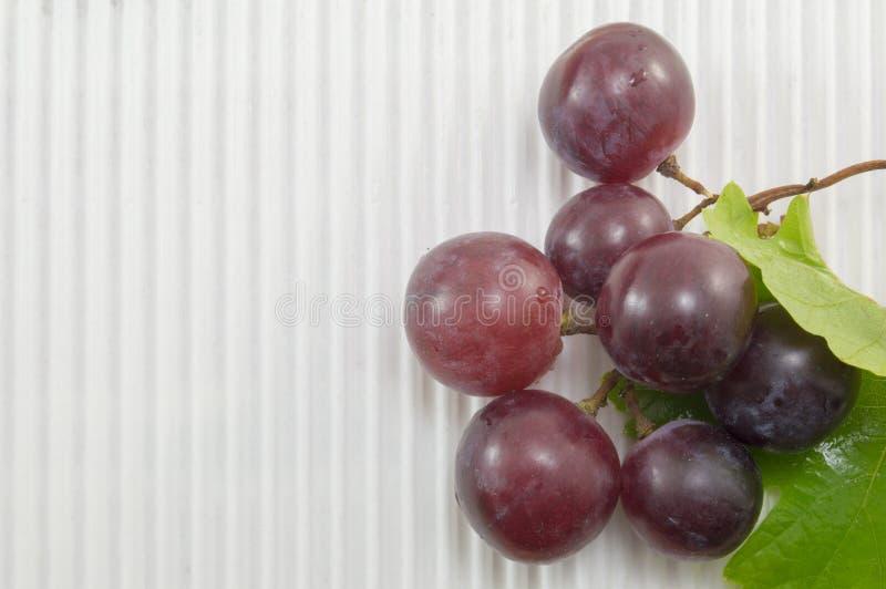 在白色织地不很细纸板的新鲜的红葡萄 库存图片