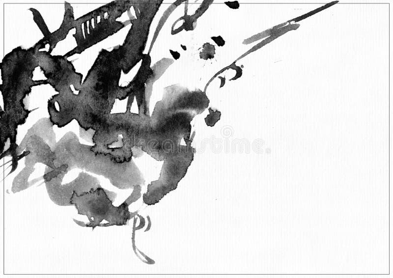 在白色水彩纸的水平的光栅例证 黑液体墨水飞溅,装饰的涂抹和污迹与线并且释放 库存例证