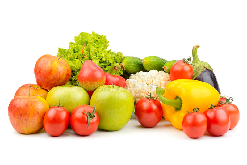 在白色水果和蔬菜查出 图库摄影