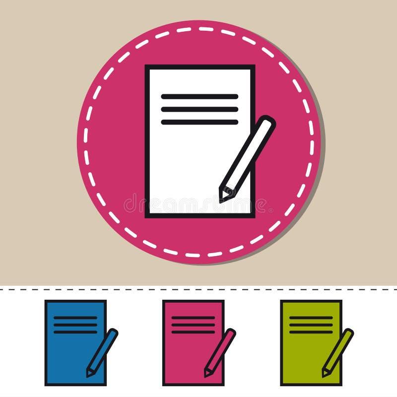 在白色-编辑可能的五颜六色的传染媒介例证-隔绝的剪贴板和铅笔象 向量例证