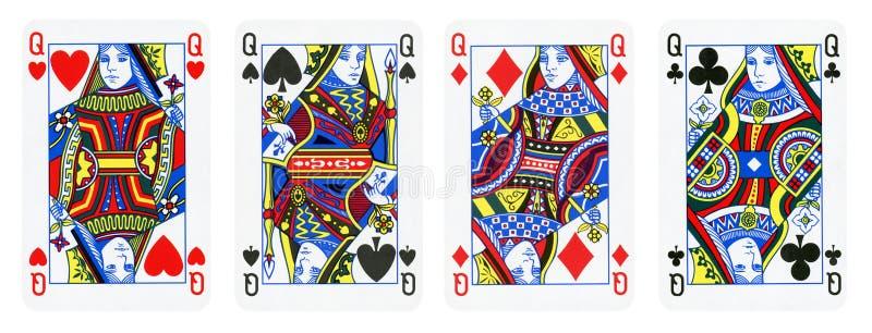 在白色-隔绝的四张女王纸牌 免版税库存照片