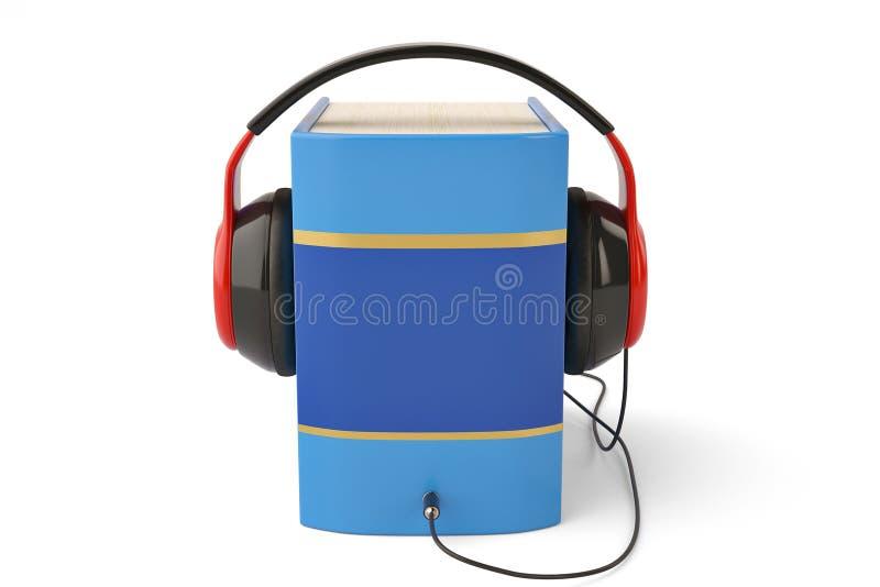 在白色3d例证和耳机隔绝的书 库存例证