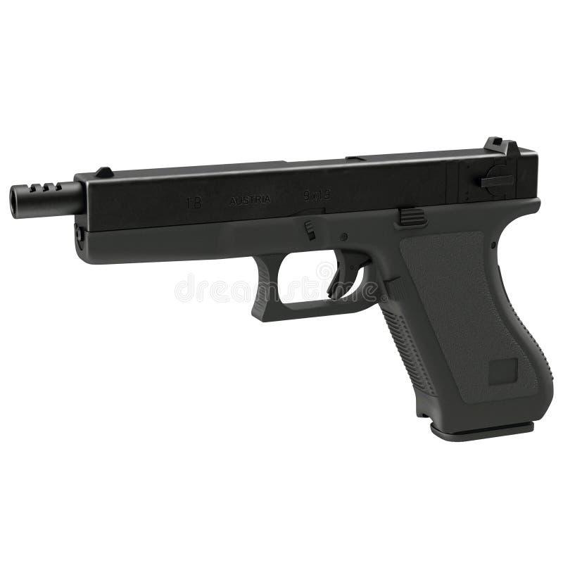 在白色3D例证的半自动手枪 皇族释放例证