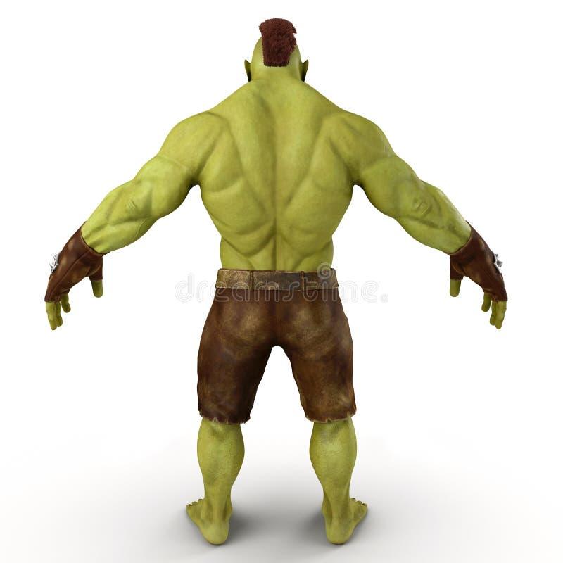在白色3D例证的绿色Orc 向量例证