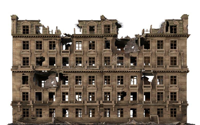 在白色3D例证隔绝的被破坏的大厦 库存例证