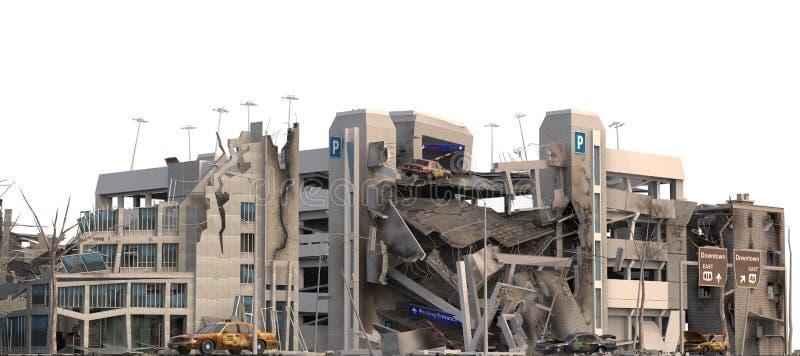 在白色3D例证隔绝的被破坏的大厦 皇族释放例证