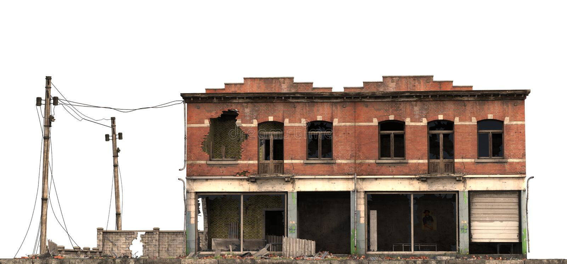 在白色3D例证隔绝的被破坏的大厦 向量例证