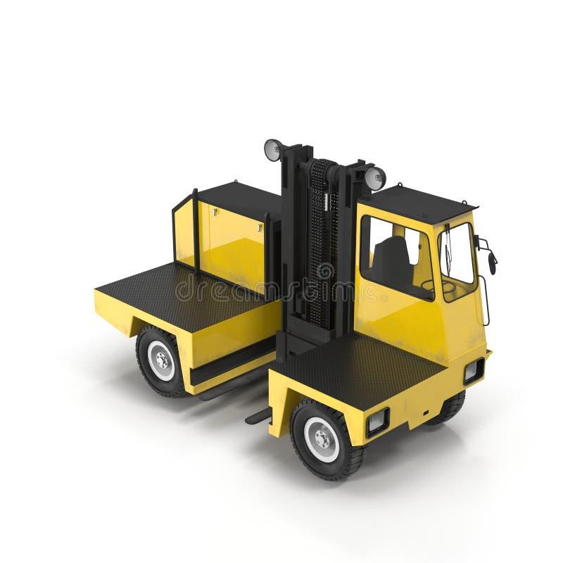 在白色3D例证隔绝的旁边装货叉架起货车 图库摄影