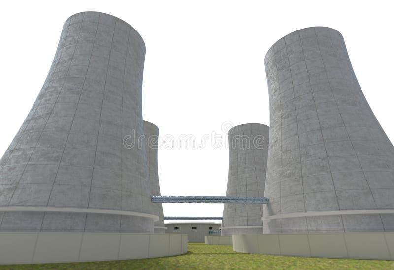 在白色3d例证隔绝的核电站广角 库存例证