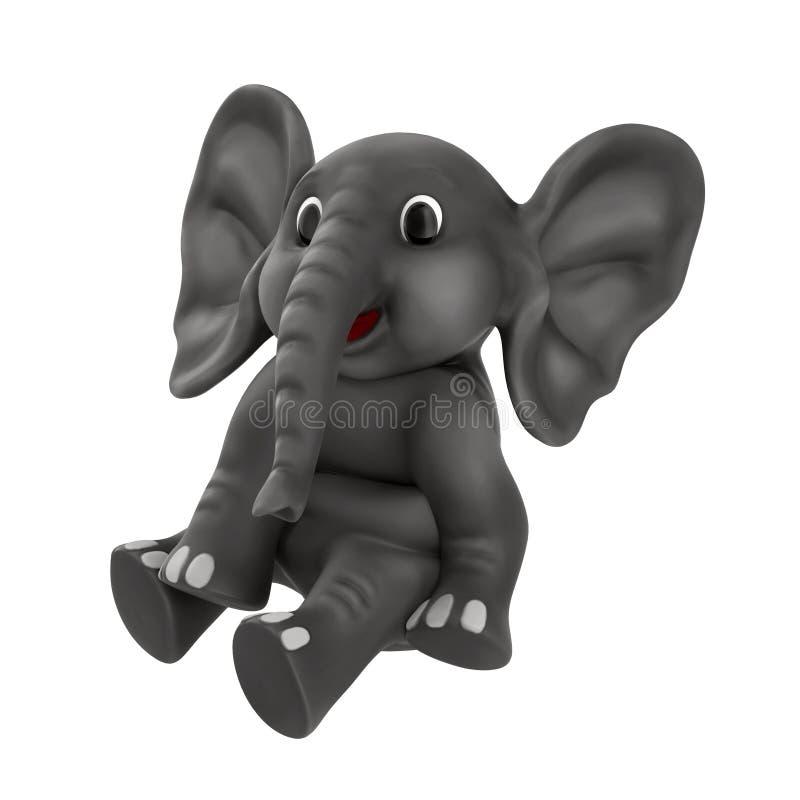 在白色3D例证隔绝的逗人喜爱的动画片大象 向量例证