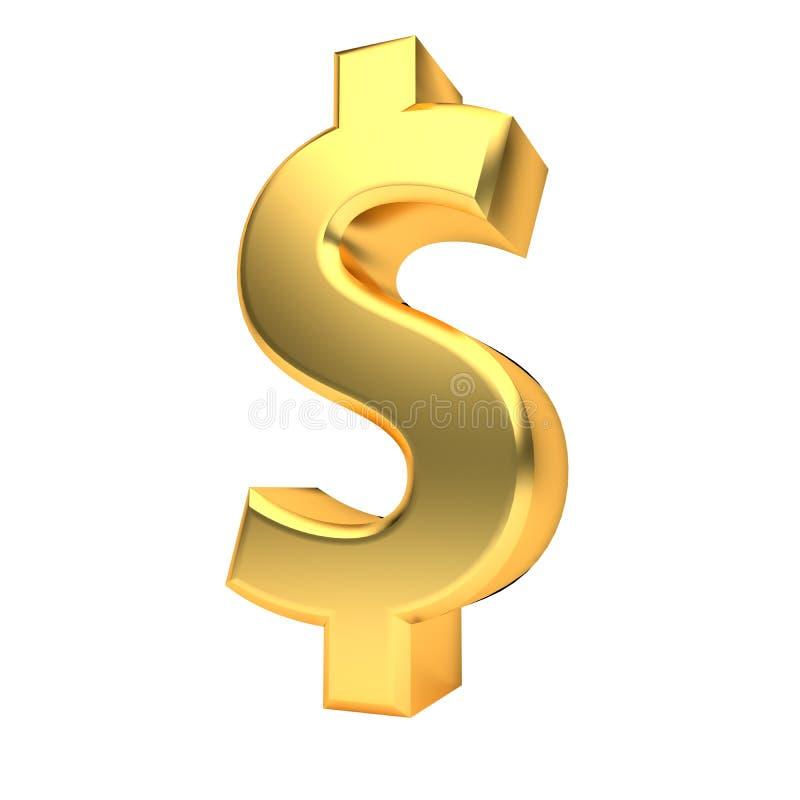 在白色3D翻译隔绝的金黄货币符号 皇族释放例证