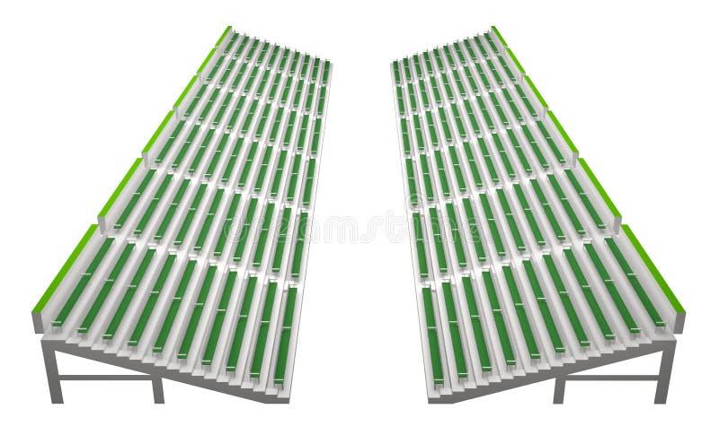 在白色3d翻译隔绝的空的长凳体育场 向量例证
