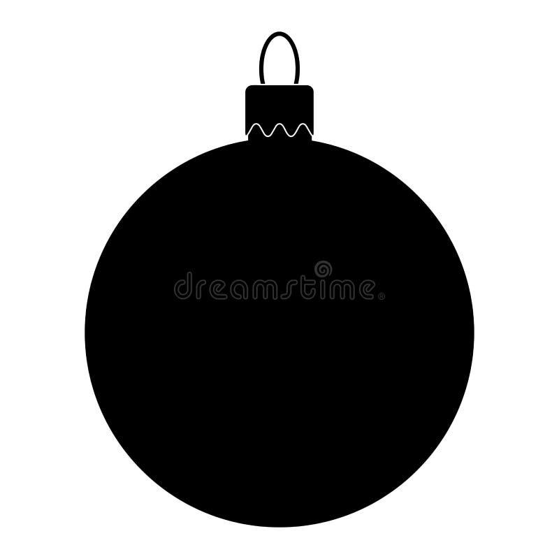 在白色ba隔绝的圣诞树的简单的中看不中用的物品剪影 库存例证