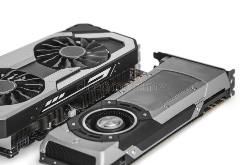 在白色bac与强有力的GPU的两个录影图形卡隔绝的 库存照片