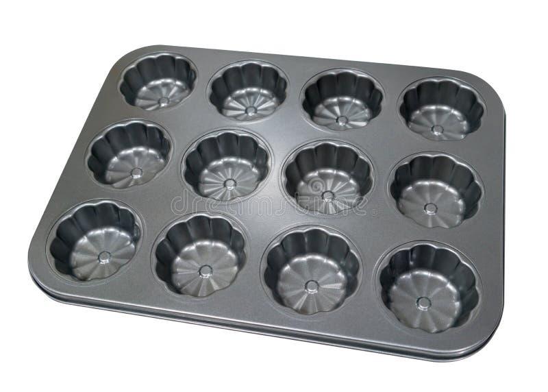 在白色bac隔绝的烘烤的空的金属松饼杯形蛋糕盘子 图库摄影