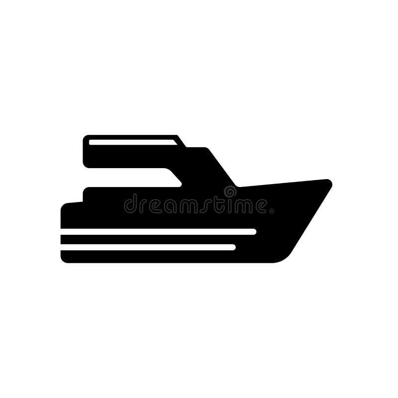 在白色bac驾驶象传染媒介标志和标志隔绝的游艇 向量例证